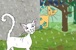 Bilete viser tunkatten Lurivar som studerer ein kvit katt, også kalla spionlærlingen.