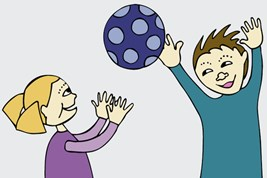 Bilete viser to barn som leikar med ein ball.