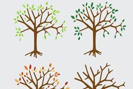 Bilete viser fleire tre som skildrar dei fire årstidene, med og utan blad.