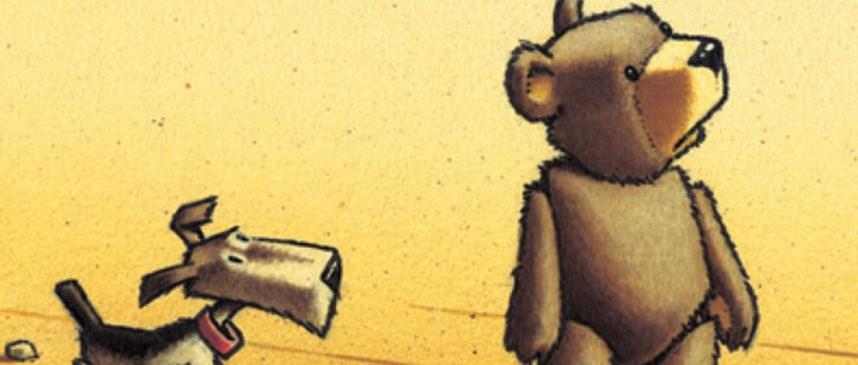 Bilete viser omslaget til boka Bjørnen Alfred og hunden Samuel forlet pappkartongen av Ragnar Hovland.