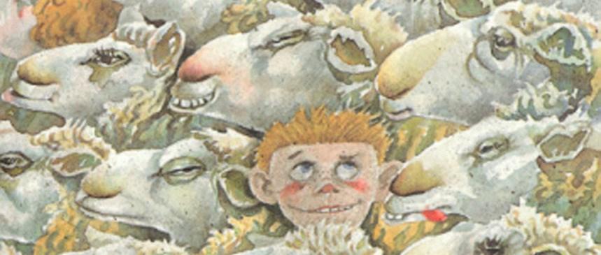 Bilete viser omslaget til boka Onkel Oskar spring naken heim til jul av Torvald Sund.