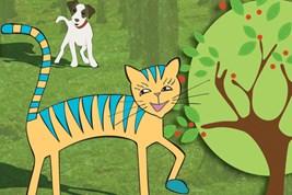 Bilete viser tunkatten Lurivar og den bortkomne hundekvalpen inne i skogen.