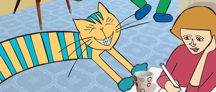 Bilete viser tunkatten Lurivar som er på besøk heime hos ein gut. Mamma sit ved eit bord og skriv og guten hoppar og dansar i bakgrunnen.