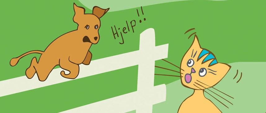 Bilete viser tunkatten Lurivar og bikkja frå byen. Hunden hoppar over eit gjerde og Lurivar ser forskrekka på han.